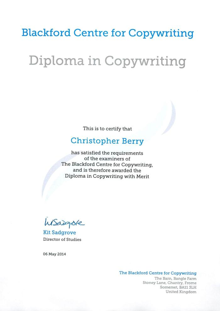Christopher Berry Diploma Certificate High Quality