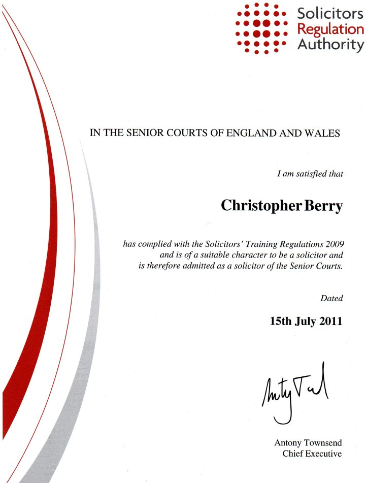 Solicitor Certificate