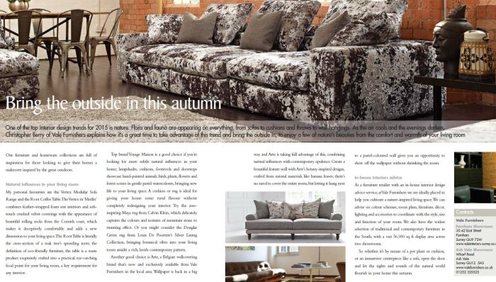 An example of an advertorial I wrote for Vale Furnishers