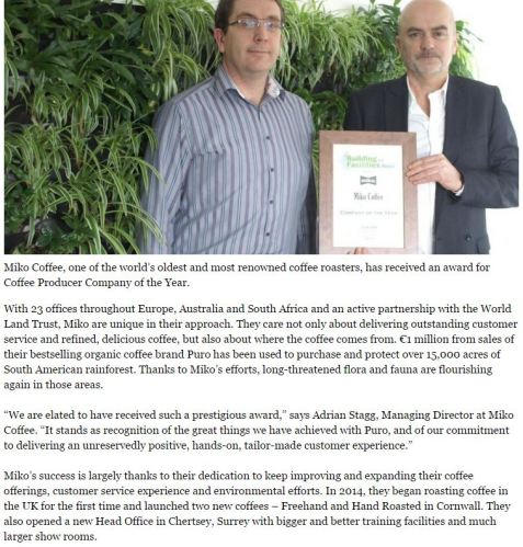 An example of a press release I wrote for Miko Coffee